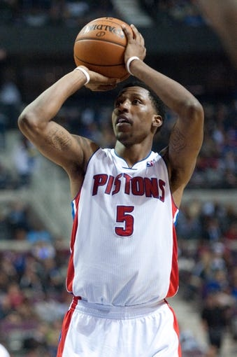 Oct 30, 2013; Auburn Hills, MI, USA; Detroit Pistons shooting guard Kentavious Caldwell-Pope (5) shoots a free throw during the third quarter against the Washington Wizards at The Palace of Auburn Hills. Pistons won 113-102. Mandatory Credit: Tim Fuller-USA TODAY Sports