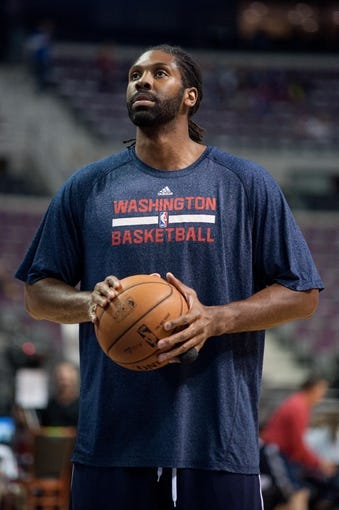Oct 30, 2013; Auburn Hills, MI, USA; Washington Wizards center Nene (42) before the game against the Detroit Pistons at The Palace of Auburn Hills. Mandatory Credit: Tim Fuller-USA TODAY Sports
