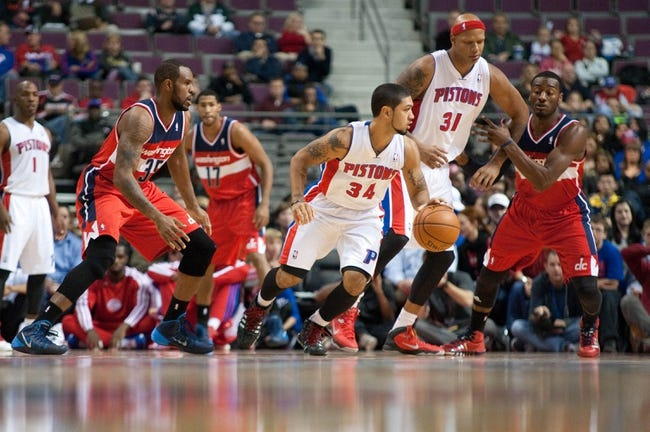 Oct 22, 2013; Auburn Hills, MI, USA; Detroit Pistons point guard Peyton Siva (34) during the second quarter against the Washington Wizards at The Palace of Auburn Hills. Mandatory Credit: Tim Fuller-USA TODAY Sports