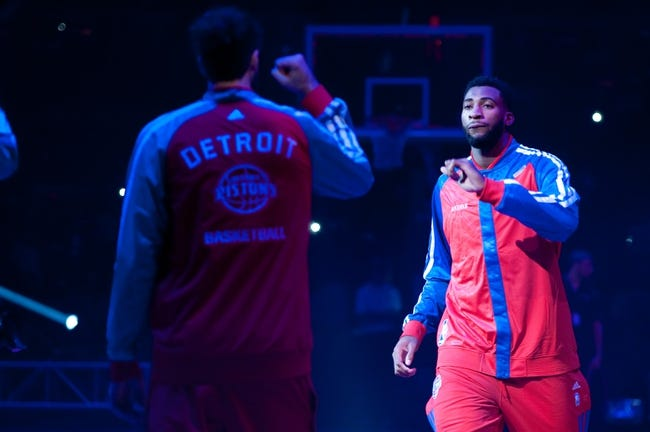 Oct 30, 2013; Auburn Hills, MI, USA; Detroit Pistons center Andre Drummond (0) high fives teammates during introductions before the game against the Washington Wizards at The Palace of Auburn Hills. Mandatory Credit: Tim Fuller-USA TODAY Sports