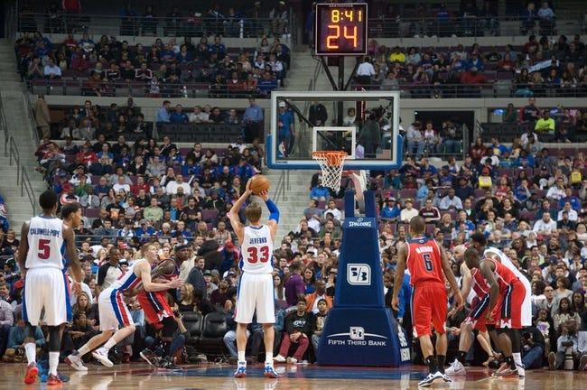 Oct 30, 2013; Auburn Hills, MI, USA; Detroit Pistons power forward Jonas Jerebko (33) shoots a free throw during the second quarter against the Washington Wizards at The Palace of Auburn Hills. Mandatory Credit: Tim Fuller-USA TODAY Sports