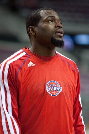 Oct 22, 2013; Auburn Hills, MI, USA; Detroit Pistons point guard Will Bynum (12) before the game against the Washington Wizards at The Palace of Auburn Hills. Mandatory Credit: Tim Fuller-USA TODAY Sports
