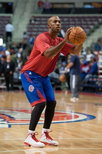 Oct 30, 2013; Auburn Hills, MI, USA; Detroit Pistons point guard Chauncey Billups (1) before the game against the Washington Wizards at The Palace of Auburn Hills. Mandatory Credit: Tim Fuller-USA TODAY Sports