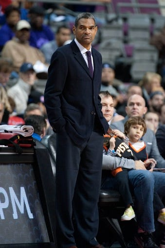 Oct 22, 2013; Auburn Hills, MI, USA; Detroit Pistons head coach Maurice Cheeks during the first quarter against the Washington Wizards at The Palace of Auburn Hills. Mandatory Credit: Tim Fuller-USA TODAY Sports