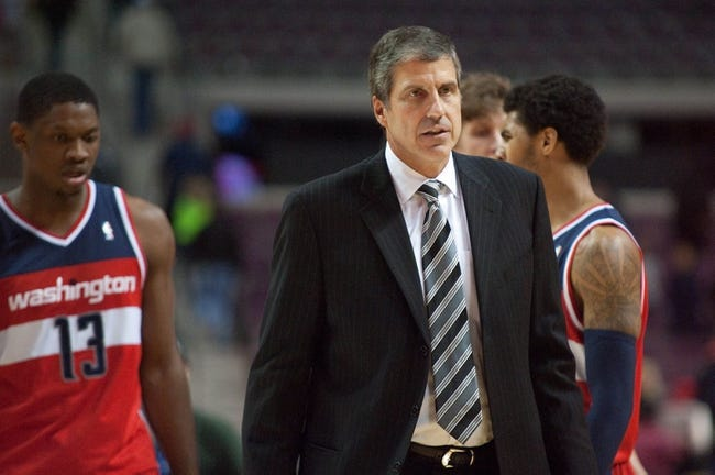 Oct 22, 2013; Auburn Hills, MI, USA; Washington Wizards head coach Randy Wittman after the game against the Detroit Pistons at The Palace of Auburn Hills. Pistons won 99-96. Mandatory Credit: Tim Fuller-USA TODAY Sports