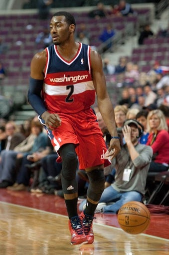 Oct 22, 2013; Auburn Hills, MI, USA; Washington Wizards point guard John Wall (2) during the second quarter against the Detroit Pistons at The Palace of Auburn Hills. Mandatory Credit: Tim Fuller-USA TODAY Sports