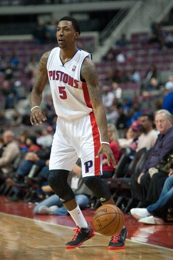 Oct 22, 2013; Auburn Hills, MI, USA; Detroit Pistons shooting guard Kentavious Caldwell-Pope (5) during the third quarter against the Washington Wizards at The Palace of Auburn Hills. Pistons won 99-96. Mandatory Credit: Tim Fuller-USA TODAY Sports