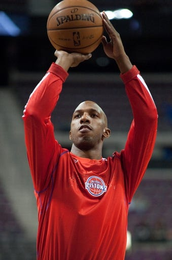 Oct 22, 2013; Auburn Hills, MI, USA; Detroit Pistons point guard Chauncey Billups (1) before the game against the Washington Wizards at The Palace of Auburn Hills. Mandatory Credit: Tim Fuller-USA TODAY Sports