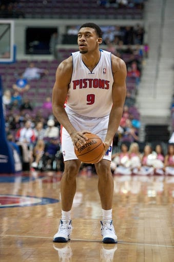 Oct 22, 2013; Auburn Hills, MI, USA; Detroit Pistons power forward Tony Mitchell (9) during the third quarter against the Washington Wizards at The Palace of Auburn Hills. Pistons won 99-96. Mandatory Credit: Tim Fuller-USA TODAY Sports