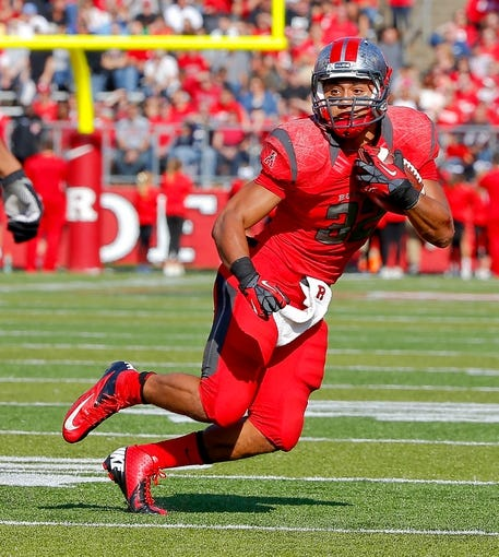 Nov 2, 2013; Piscataway, NJ, USA;  Rutgers Scarlet Knights running back Justin Goodwin (32) during the first half against the Temple Owls at High Points Solutions Stadium. Mandatory Credit: Jim O'Connor-USA TODAY Sports