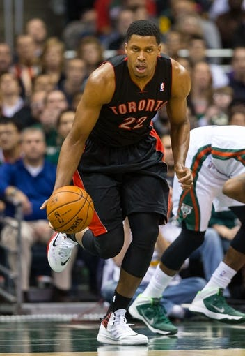 Nov 2, 2013; Milwaukee, WI, USA; Toronto Raptors forward Rudy Gay (22) during the game against the Milwaukee Bucks at BMO Harris Bradley Center. Toronto won 97-90.  Mandatory Credit: Jeff Hanisch-USA TODAY Sports