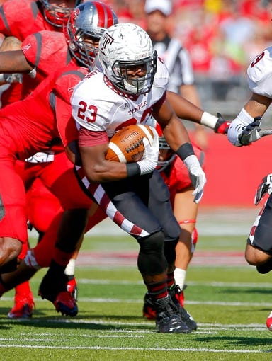 Nov 2, 2013; Piscataway, NJ, USA;  Temple Owls running back Zaire Williams (23) during the first half against the Rutgers Scarlet Knights at High Points Solutions Stadium. Mandatory Credit: Jim O'Connor-USA TODAY Sports