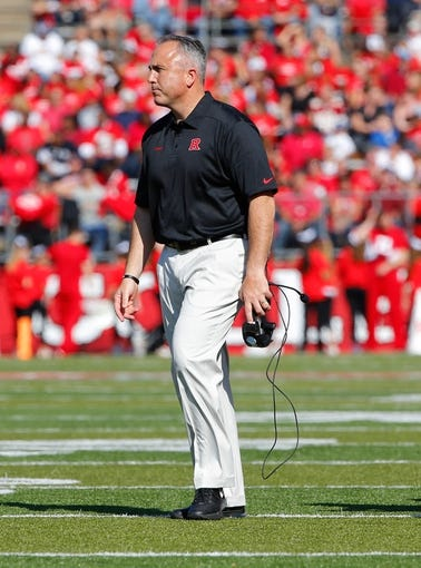 Nov 2, 2013; Piscataway, NJ, USA;  Rutgers Scarlet Knights head coach Kyle Flood during the first half against the Temple Owls at High Points Solutions Stadium. Mandatory Credit: Jim O'Connor-USA TODAY Sports