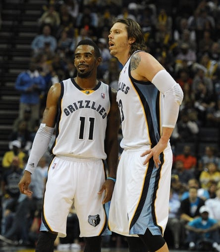 Nov 1, 2013; Memphis, TN, USA; Memphis Grizzlies point guard Mike Conley (11) and small forward Mike Miller (13) during the game against Detroit Pistons at FedExForum. Memphis Grizzlies beat the Detroit Pistons 111 - 108. Mandatory Credit: Justin Ford-USA TODAY Sports