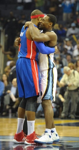Nov 1, 2013; Memphis, TN, USA; Detroit Pistons small forward Josh Smith (6) and Memphis Grizzlies shooting guard Tony Allen (9) before the game at FedExForum. Memphis Grizzlies beat the Detroit Pistons 111 - 108. Mandatory Credit: Justin Ford-USA TODAY Sports