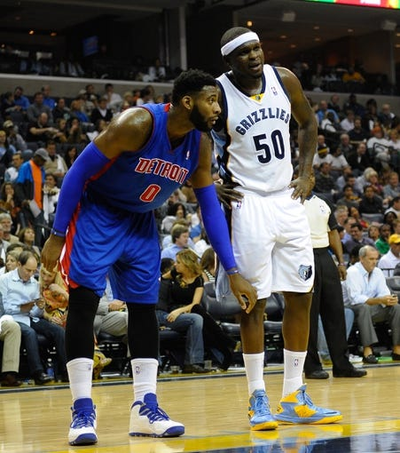 Nov 1, 2013; Memphis, TN, USA; Detroit Pistons center Andre Drummond (0) and Memphis Grizzlies power forward Zach Randolph (50) talk during the game at FedExForum. Memphis Grizzlies beat the Detroit Pistons 111 - 108. Mandatory Credit: Justin Ford-USA TODAY Sports