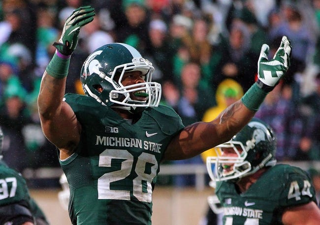 Nov 2, 2013; East Lansing, MI, USA; Michigan State Spartans linebacker Denicos Allen (28) reacts to a play during the 2nd half of a game against the Michigan Wolverines at Spartan Stadium. MSU won 29-6. Mandatory Credit: Mike Carter-USA TODAY Sports