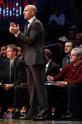 Nov 5, 2013; Brooklyn, NY, USA; Brooklyn Nets head coach Jason Kidd during the first quarter against the Utah Jazz at Barclays Center. Mandatory Credit: Anthony Gruppuso-USA TODAY Sports