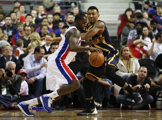 Nov 5, 2013; Auburn Hills, MI, USA; Detroit Pistons shooting guard Rodney Stuckey (3) drives to the basket against Indiana Pacers shooting guard Orlando Johnson (11) during the third quarter at The Palace of Auburn Hills. The Pacers beat the Pistons 99-91. Mandatory Credit: Raj Mehta-USA TODAY Sports