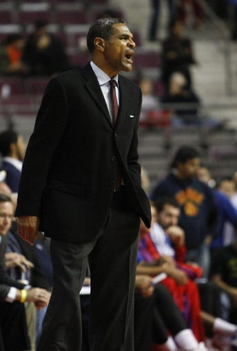 Nov 5, 2013; Auburn Hills, MI, USA; Detroit Pistons head coach Maurice Cheeks during the fourth quarter against the Indiana Pacers at The Palace of Auburn Hills. The Pacers beat the Pistons 99-91. Mandatory Credit: Raj Mehta-USA TODAY Sports