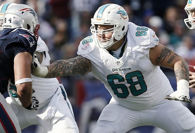 Oct 27, 2013; Foxborough, MA, USA; Miami Dolphins guard Richie Incognito (68) blocks against the New England Patriots during the second quarter at Gillette Stadium. Mandatory Credit: Winslow Townson-USA TODAY Sports
