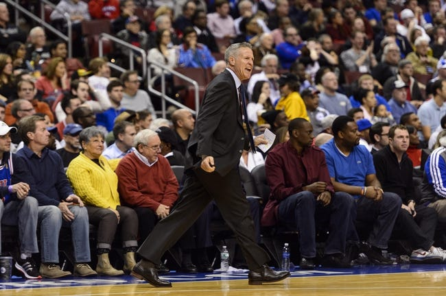 Nov 4, 2013; Philadelphia, PA, USA; Philadelphia 76ers head coach Brett Brown during the second quarter against the Golden State Warriors at Wells Fargo Center. The Warriors defeated the Sixers 110-90. Mandatory Credit: Howard Smith-USA TODAY Sports