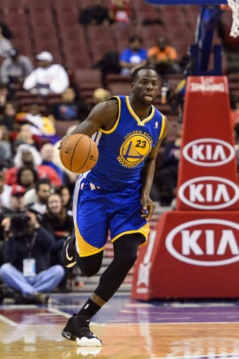 Nov 4, 2013; Philadelphia, PA, USA; Golden State Warriors forward Draymond Green (23) brings the ball up court during the fourth quarter against the Philadelphia 76ers at Wells Fargo Center. The Warriors defeated the Sixers 110-90. Mandatory Credit: Howard Smith-USA TODAY Sports