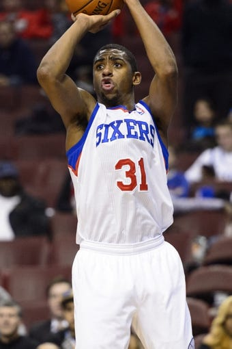 Nov 4, 2013; Philadelphia, PA, USA; Philadelphia 76ers forward Hollis Thompson (31) shoots a jump shot during the fourth quarter against the Golden State Warriors at Wells Fargo Center. The Warriors defeated the Sixers 110-90. Mandatory Credit: Howard Smith-USA TODAY Sports