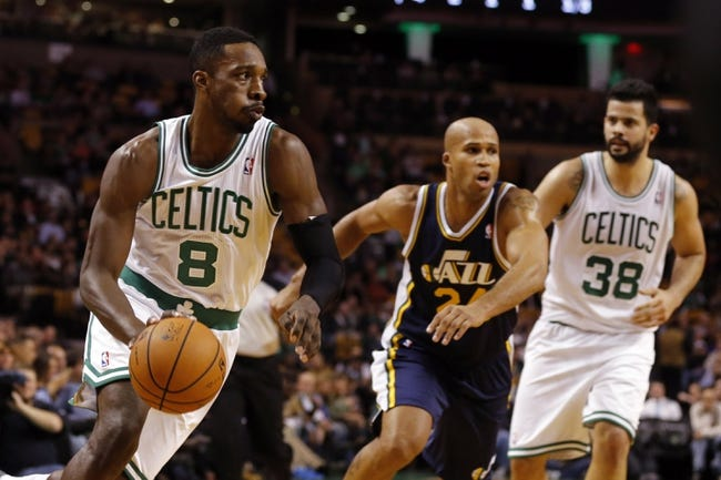 Nov 6, 2013; Boston, MA, USA; Boston Celtics power forward Jeff Green (8) drives the ball against Utah Jazz small forward Richard Jefferson (24) in the first quarter at TD Garden. Mandatory Credit: David Butler II-USA TODAY Sports