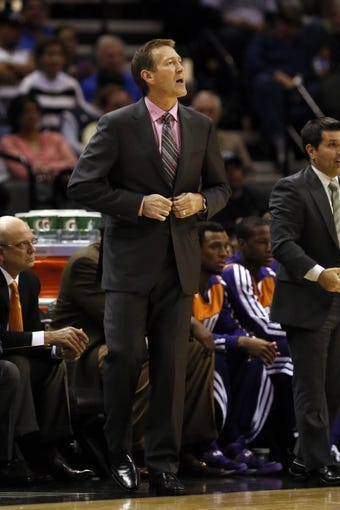 Nov 6, 2013; San Antonio, TX, USA; Phoenix Suns head coach Jeff Hornacek watches from the sideline during the first half against the San Antonio Spurs at AT&T Center. Mandatory Credit: Soobum Im-USA TODAY Sports