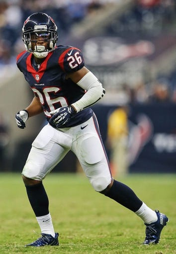 Aug 17, 2013; Houston, TX, USA; Houston Texans defensive back Brandon Harris (26) during the game against the Miami Dolphins at Reliant Stadium. The Texans won 24-17. Mandatory Credit: Kevin Jairaj-USA TODAY Sports