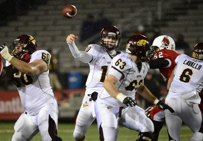 Nov 6, 2013; Muncie, IN, USA; Central Michigan Chippewas quarterback Cooper Rush (10) passes the ball against the Ball State Cardinals at Scheumann  Stadium. Mandatory Credit: Marc Lebryk-USA TODAY Sports