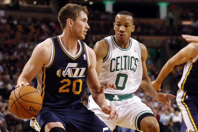 Nov 6, 2013; Boston, MA, USA; Utah Jazz small forward Gordon Hayward (20) works the ball against Boston Celtics point guard Avery Bradley (0) in the second half at TD Garden. The Celtics defeated the Jazz 97-87. Mandatory Credit: David Butler II-USA TODAY Sports