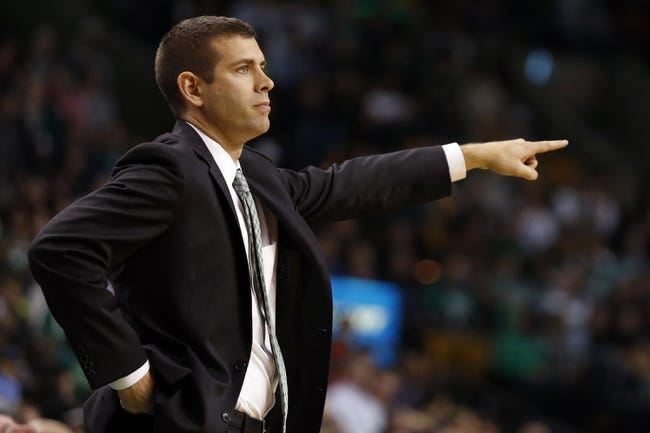 Nov 6, 2013; Boston, MA, USA; Boston Celtics head coach Brad Stevens watches from the sideline as they take on the Utah Jazz in the second half at TD Garden. The Celtics defeated the Jazz 97-87. Mandatory Credit: David Butler II-USA TODAY Sports