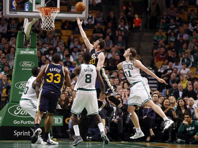Nov 6, 2013; Boston, MA, USA; Utah Jazz small forward Gordon Hayward (20) drives the ball to the basket against Boston Celtics power forward Jeff Green (8) in the second half at TD Garden. The Celtics defeated the Jazz 97-87. Mandatory Credit: David Butler II-USA TODAY Sports