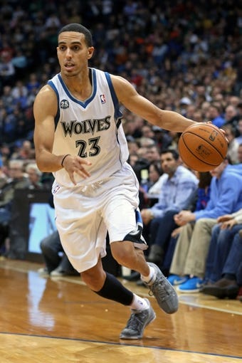 Nov 6, 2013; Minneapolis, MN, USA; Minnesota Timberwolves shooting guard Kevin Martin (23) drives to the basket in the second half against the Golden State Warriors at Target Center. The Warriors won 106-93. Mandatory Credit: Jesse Johnson-USA TODAY Sports