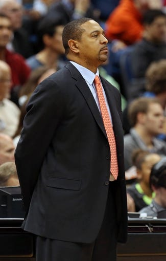 Nov 6, 2013; Minneapolis, MN, USA; Golden State Warriors head coach Mark Jackson looks on during the second half against the Minnesota Timberwolves at Target Center. The Warriors won 106-93. Mandatory Credit: Jesse Johnson-USA TODAY Sports