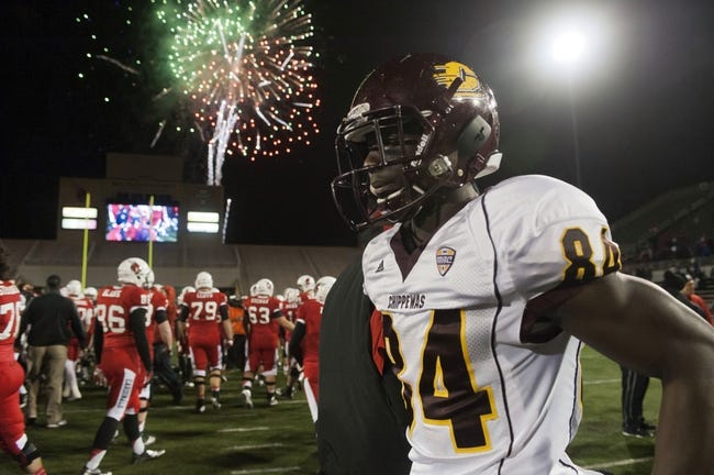 Nov 6, 2013; Muncie, IN, USA;  Central Michigan Chippewas wide receiver Titus Davis (84) reacts after the game against The Ball State Cardinals at Scheumann  Stadium. The Ball Sate Cardinals beat Central Michigan Chippewas 44 to 24. Mandatory Credit: Marc Lebryk-USA TODAY Sports