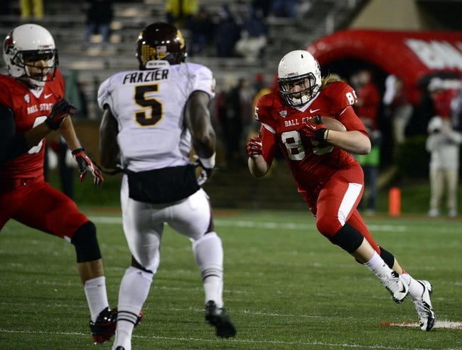 Nov 6, 2013; Muncie, IN, USA;  Ball State Cardinals tight end Sam Brunner (85) runs the ball in the first half of the game at Scheumann  Stadium. The Ball Sate Cardinals beat Central Michigan Chippewas 44 to 24. Mandatory Credit: Marc Lebryk-USA TODAY Sports