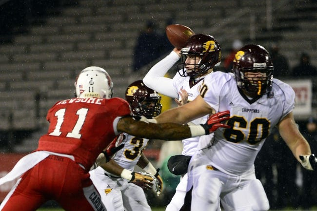 Nov 6, 2013; Muncie, IN, USA;  Central Michigan Chippewas quarterback Cooper Rush (10) throws the ball in the first half of the game at Scheumann Stadium. The Ball Sate Cardinals beat Central Michigan Chippewas 44 to 24. Mandatory Credit: Marc Lebryk-USA TODAY Sports