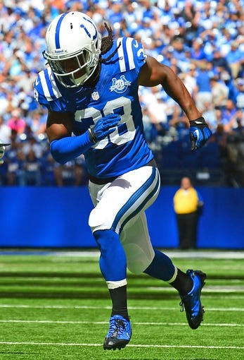 Sep 15, 2013; Indianapolis, IN, USA; Indianapolis Colts defensive back Sergio Brown (38) during the game against the Miami Dolphins at Lucas Oil Stadium. Mandatory Credit: Andrew Weber-USA TODAY Sports