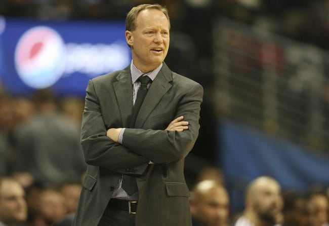 Nov 7, 2013; Denver, CO, USA;  Atlanta Hawks head coach Mike Budenholzer on the sidelines during the second half against the Denver Nuggets at Pepsi Center. The Nuggets won 109-107. Mandatory Credit: Chris Humphreys-USA TODAY Sports