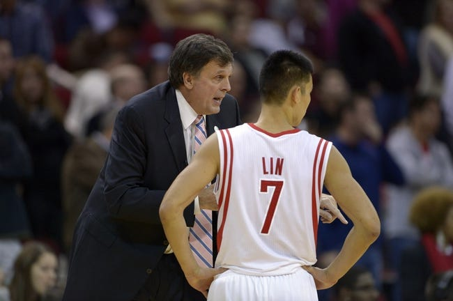 Nov 7, 2013; Houston, TX, USA; Houston Rockets head coach Kevin McHale coaches point guard Jeremy Lin (7) against the Los Angeles Lakers during the second half at Toyota Center. The Lakers won 99-98. Mandatory Credit: Thomas Campbell-USA TODAY Sports
