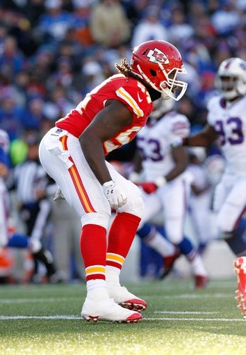 Nov 3, 2013; Orchard Park, NY, USA; Kansas City Chiefs linebacker Dezman Moses (54) during the game against the Buffalo Bills at Ralph Wilson Stadium. Mandatory Credit: Kevin Hoffman-USA TODAY Sports