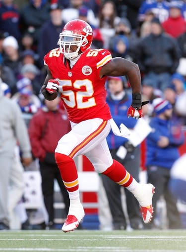 Nov 3, 2013; Orchard Park, NY, USA; Kansas City Chiefs linebacker James-Michael Johnson (52) during the game against the Buffalo Bills at Ralph Wilson Stadium. Mandatory Credit: Kevin Hoffman-USA TODAY Sports