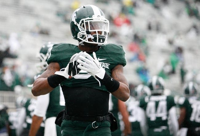 Nov 2, 2013; East Lansing, MI, USA; Michigan State Spartans cornerback Darqueze Dennard (31) before the game against the Michigan Wolverines at Spartan Stadium. The Spartans beat the Wolverines 29-6. Mandatory Credit: Raj Mehta-USA TODAY Sports