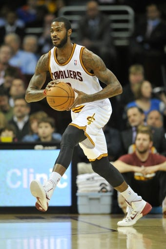 Nov 4, 2013; Cleveland, OH, USA; Cleveland Cavaliers small forward Earl Clark (6) during a game against the Minnesota Timberwolves at Quicken Loans Arena. Cleveland won 93-92. Mandatory Credit: David Richard-USA TODAY Sports