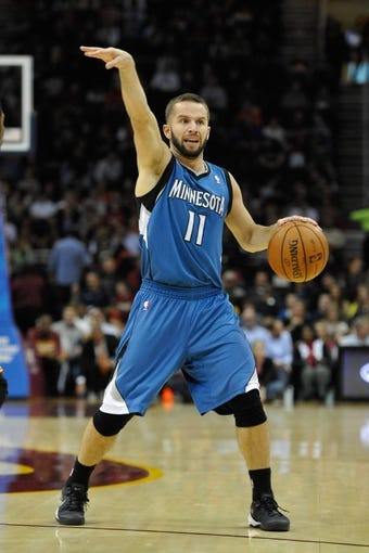 Nov 4, 2013; Cleveland, OH, USA; Minnesota Timberwolves point guard J.J. Barea (11) during a game against the Cleveland Cavaliers at Quicken Loans Arena. Cleveland won 93-92. Mandatory Credit: David Richard-USA TODAY Sports