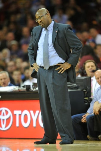 Nov 4, 2013; Cleveland, OH, USA; Cleveland Cavaliers head coach Mike Brown during a game against the Minnesota Timberwolves at Quicken Loans Arena. Cleveland won 93-92. Mandatory Credit: David Richard-USA TODAY Sports