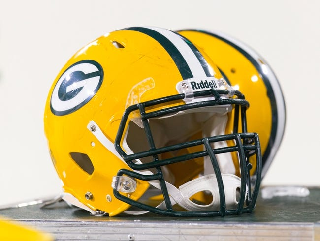 Nov 4, 2013; Green Bay, WI, USA; A Green Bay Packers helmet during the game against the Chicago Bears at Lambeau Field. Chicago won 27-20.  Mandatory Credit: Jeff Hanisch-USA TODAY Sports